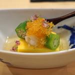 実伶 - 料理写真:先付 玉蜀黍の寒天がため、海老と飛子とオクラをのせて