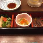 沼津魚がし鮨 - 先付け、蛍イカの沖漬け、イカの塩辛、あん肝