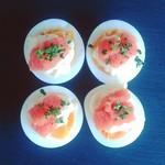 稚加榮 本店 - 半熟卵の上にマヨと明太子。