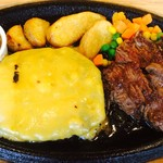 K'sグリル - オールビーフハンバーグ&カットステーキ+チェダーチーズ