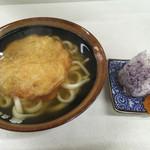 立喰い生麺 - 料理写真:玉ねぎ天うどん=470円 おにぎり=80円