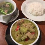 アムリタ食堂 - 鶏と茄子のグリーンカレーセット