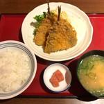 天神橋2丁目食堂 - アジフライ 420円・ごはんセット 270円(税込)