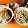 ラーメン二郎 - 料理写真:つけ麺(880円)+ネギ(150円)+生たまご(50円)=1080円  それぞれ中くらいのらーめん丼大の器。