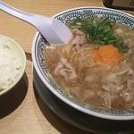 丸源ラーメン 福山引野店 - 肉そばとごはん(小) ※このあと餃子が届きます(2017.6月)