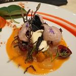 レストラン 間 - 前菜1 ヒラメの昆布〆と柳タコの彩り トマトのデクリネゾン