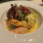 レストラン 間 - 魚料理 鱧のベニエと蛤、紫蘇のニョッキ、ア・ラ・ナージュ