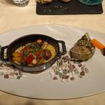 レストラン 間 - くずし(ご飯) サザエと梅貝のサフランライス 夏野菜のア・ラ・グレック