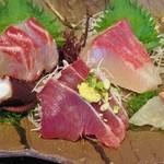 やまや - 2017-06-06_再訪(2回目)地魚五点刺身盛合せ定食 鰹、タコ、カワハギ?白身は???