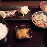 6827997 - サバの文化干し焼き&豚モツの味噌煮込み&生玉子定食\790