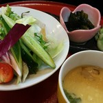秋田屋 - レディース御膳かぐや姫1250円(税別)                             サラダ、おつまみ3点、茶わん蒸し
