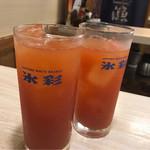 魚漁 - トマト酎ハイ乾杯〜!!