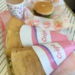 ビーパス年輪 - 料理写真:クレープとハンバーガーとココア