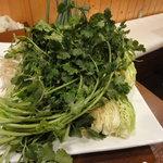 アジアンヌードル 展 - てんこ盛りの野菜(手前がパクチー)