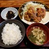 博多もつ鍋 やまや - 料理写真:鶏の唐揚げ明太風味定食(1000円)
