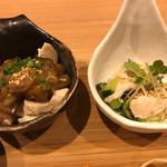 串処 ほとり 灯鳥 - 鶏ハム梅オクラ・ささみときゅうりの酢の物