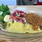ウドンダイニング コナ ミズ シオ - 胡麻香るカレー 冷麺風ぶっかけうどん 1180円(税込)
