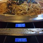 洋麺亭 - 今回の計量値。「和風きのこ」Lサイズ、総重量(実測値)は、1,890g。