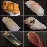 Yakkozushi - 料理写真:雲丹、甘鯛、烏賊、蛸、こはだ、鰹