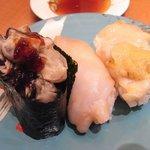 定食居酒屋 廻天寿司 まぐろ人 - 貝3種盛