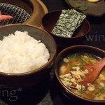 焼肉亭 - ご飯セット(ご飯+スープ+韓国海苔)