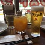 ベトナム料理レストラン 333 - ランチのビールとマンゴージュース