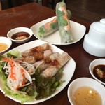 ベトナム料理レストラン 333 - ランチの生春巻き揚げ春巻き2人前