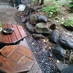 皿屋 福柳 - 中庭の緑を眺めながら一服。喫煙コーナー