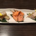 日本酒スローフード とやま方舟 - 昆布〆三種1100円
