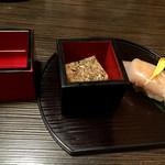 日本酒スローフード とやま方舟 - お通しと振舞酒