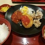 ジョイフル - 日替わり昼膳 ミニハンバーグ&ポテトコロッケ& 若鶏の唐揚げ膳2017.5.31