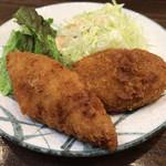 舟よし - 白身魚フライとミートコロッケ(今週のサービス定食単品)