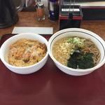 山田うどん - 料理写真:H29.6 ミニかき揚げ丼セット・冷やしたぬきそば