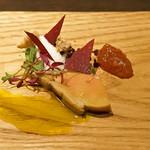 sincere - フォアグラ ルバーブのチップとルバーブのコンフィチュールとブランマンジェとピスタチオのオイルを添えて