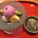 坂ぐち - [水物] 紫蘇シャーベット、アンデスメロン、ライチ、パイナップル 自家製蕨餅