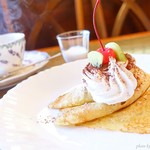 もみの木 - 2017年3月 コンソメスープオムライスのコースのデザートとミルクティー