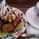 サンマルクカフェ - 料理写真:デニブラン チョコバナナ・ホットカフェラテ