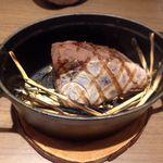 68418508 - 寒鰤の藁燻し焼きとパール柑、松の実、ディルのマリネ