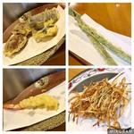 天ぷら いづも - 天ぷら単品。海老は2尾でしたが、写真撮影失念し1尾食べちゃいましたm(_ _)m  右下はサービスで頂いた新メニューの、ゴボウのかき揚げ。甘くて美味しい♡