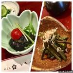天ぷら いづも - 小鉢。鍋しぎと、サービスで頂いたワラビ♫ ありがとうございました(o^^o)