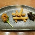 銀シャリ.カフェ - ネギ味噌、江戸ごぼう、海苔くらげ