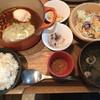 神楽坂 茶寮 - 料理写真:きのこと温泉卵のデミ味噌チーズハンバーグ