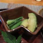 隠家 あわい - 小メロンと山菜の漬物