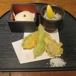 68466637 - 天ぷら、茹でたしらす、ざる豆腐