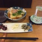 一瞬 - 揚げだし豆腐+京漬物盛り合せ+玉乃光(地酒)