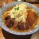 ラーメン燈郎 - カレーらーめん+牛ステーキ