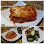 龍園 - *白菜キムチ・・かなり辛いですが美味しい。 *カクテキと胡瓜キムチもいいお味。