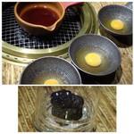 龍園 - *ミニ鍋には割り下が入り、卵が用意されました。調理はスタッフの方がしてくださいます。