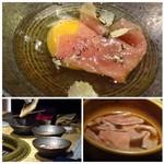 68498627 - *割り下でお肉をサット茹で、卵に入れ上からトリュフをスライスしてかける贅沢な品。 お肉も柔らかく、これは美味しい。