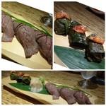 龍園 - ◆お鮨2種・・エゴマおチャンジャのせ、前バラの炙り。どちらも美味しいですよ。